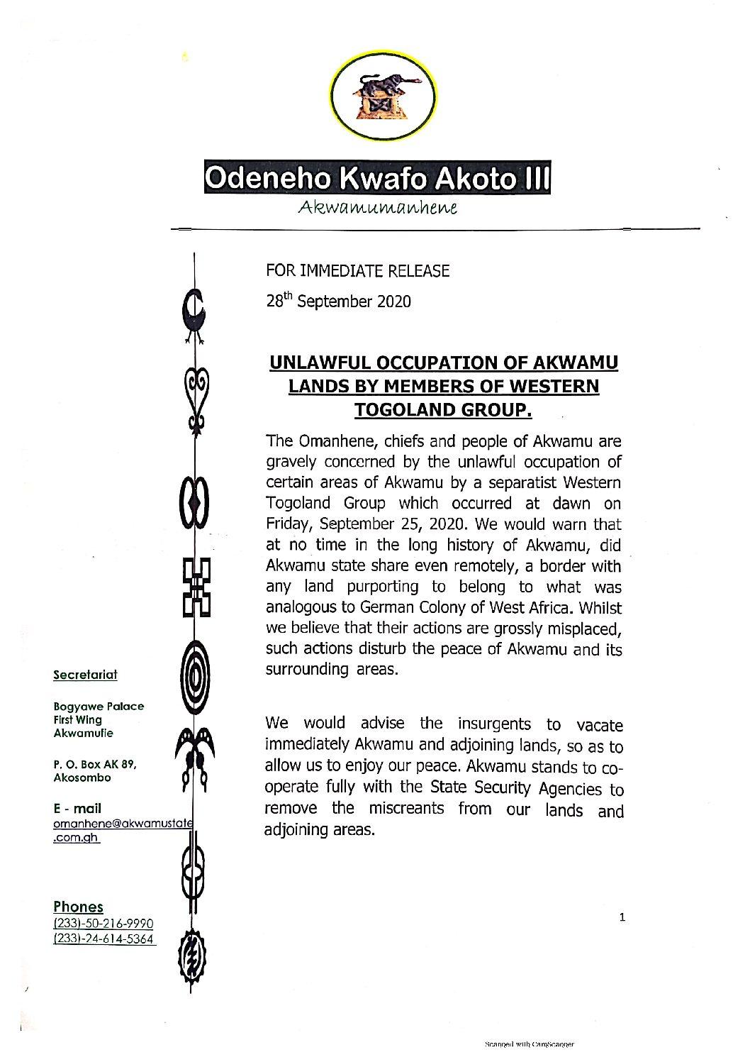 Photo of Stop daring us, Akwamu warns Western Togoland rebels